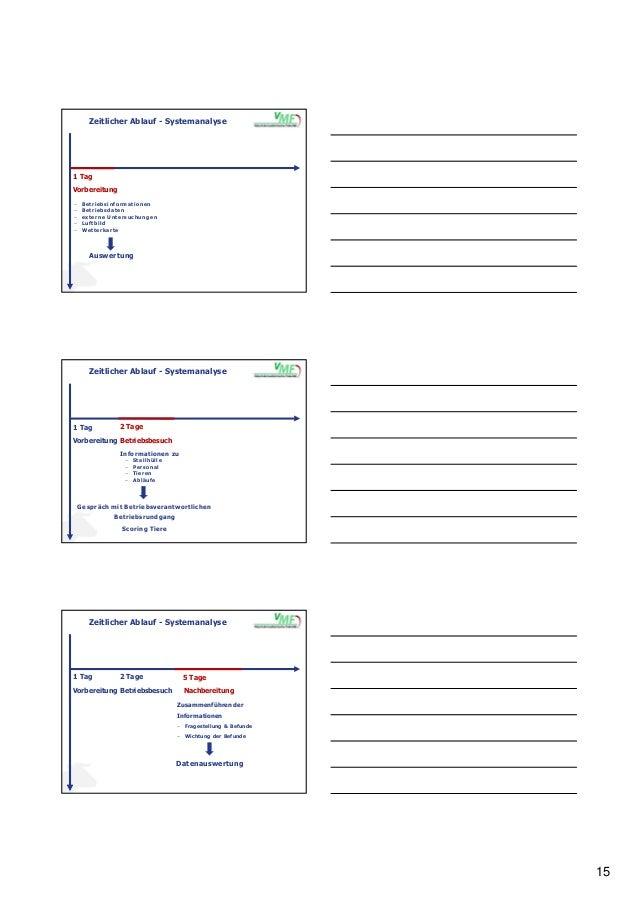 15 Zeitlicher Ablauf - Systemanalyse − Betriebsinformationen − Betriebsdaten − externe Untersuchungen − Luftbild − Wetterk...
