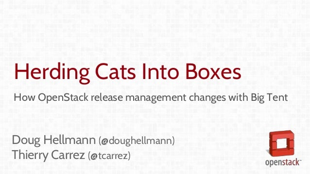 Herding Cats Into Boxes How OpenStack release management changes with Big Tent Doug Hellmann (@doughellmann) Thierry Carre...