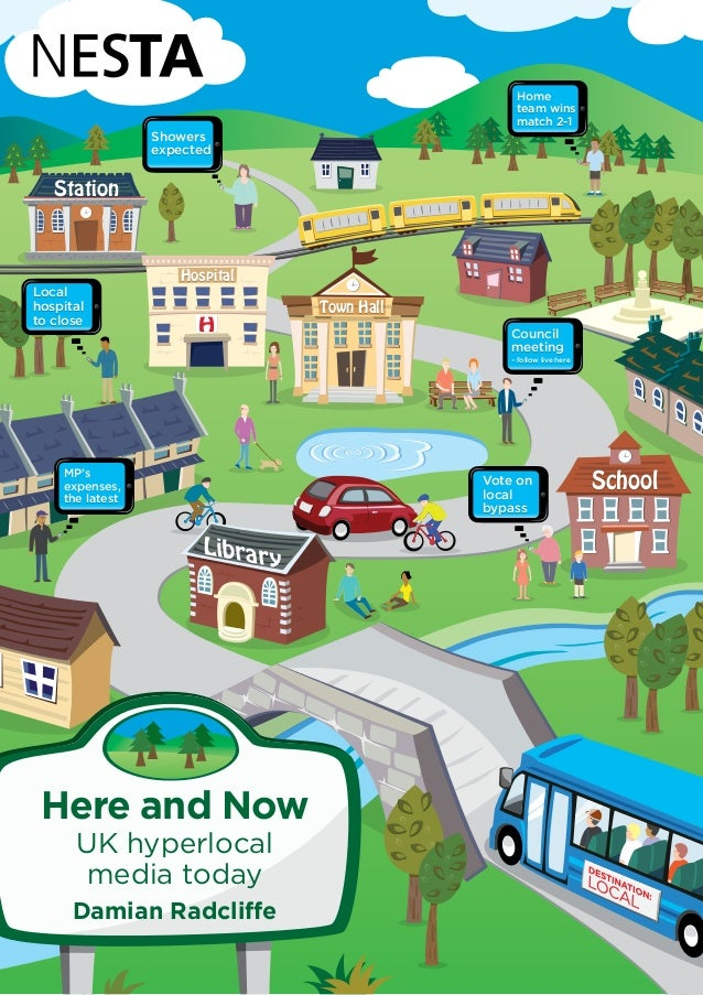 Town Hall  Station  Hospital  H  School  Library  Here and Now  UK hyperlocal  media today  Damian Radcliffe  Council  mee...