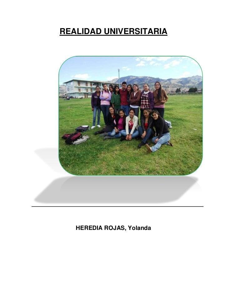 REALIDAD UNIVERSITARIA   HEREDIA ROJAS, Yolanda