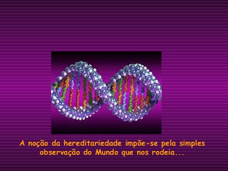 A noção da hereditariedade impõe-se pela simples observação do Mundo que nos rodeia...