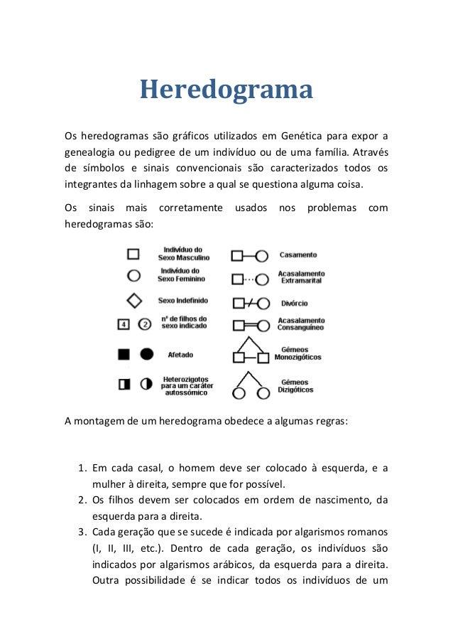 Heredograma  Os heredogramas são gráficos utilizados em Genética para expor a genealogia ou pedigree de um indivíduo ou de...
