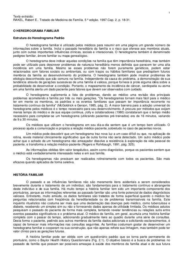 1 Texto extraído: RAKEL, Robert E.. Tratado de Medicina de Família. 5 ª edição. 1997.Cap. 2, p. 18-31. O HEREDROGRAMA FAMI...