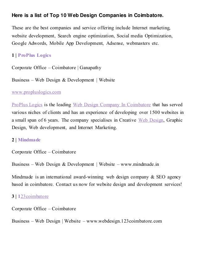 Top 10 Web design company in Coimbatore