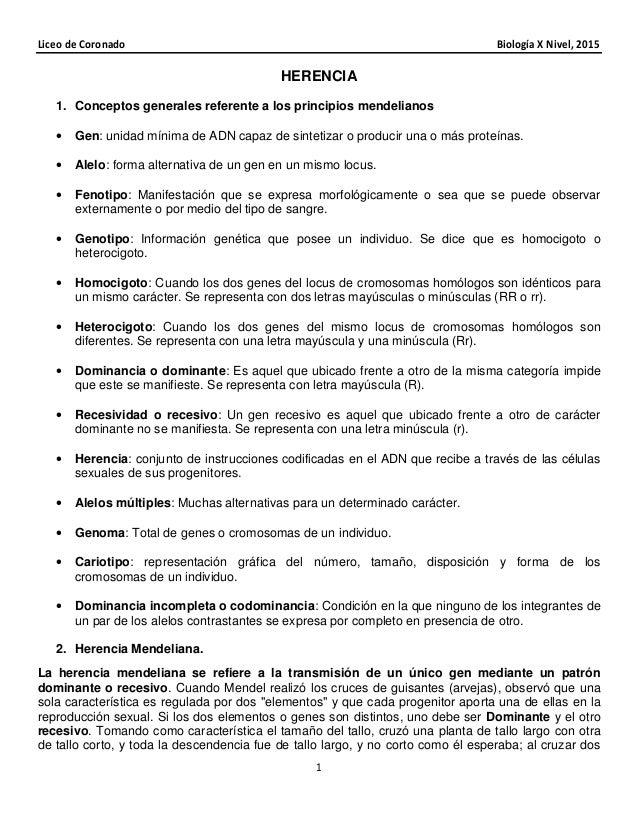 Liceo de Coronado Biología X Nivel, 2015 1 HERENCIA 1. Conceptos generales referente a los principios mendelianos • Gen: u...