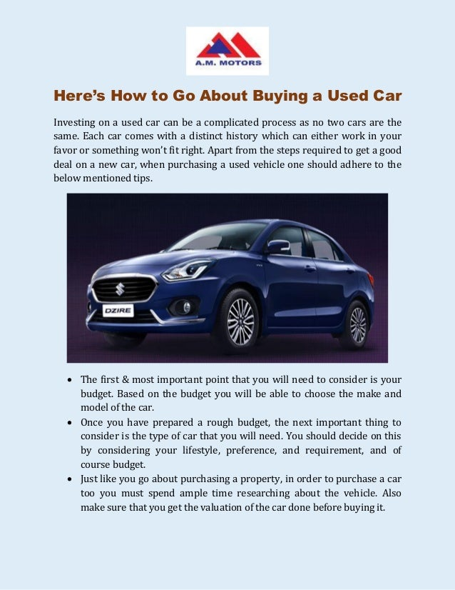 Procedure when buying a second hand car