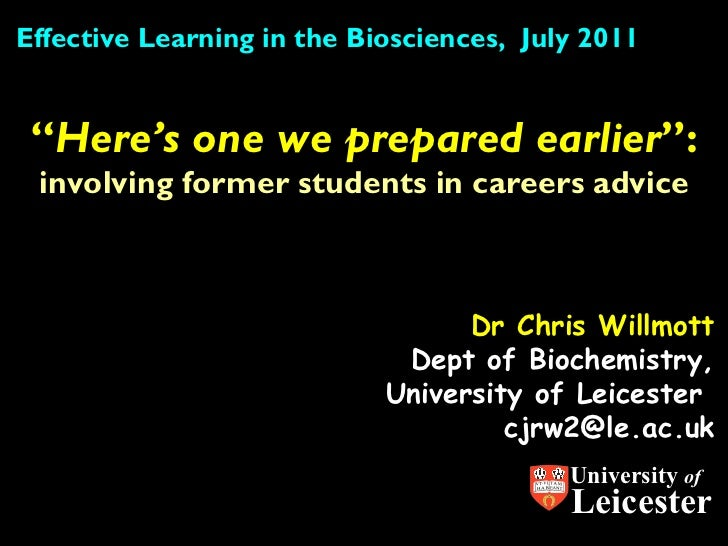 """Dr Chris Willmott Dept of Biochemistry, University of Leicester  [email_address] """" Here's one we prepared earlier """":  invo..."""