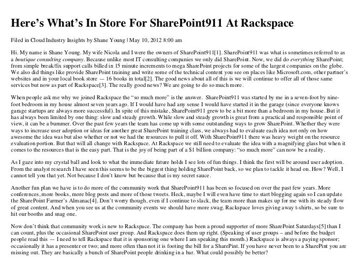 Here's What's in Store for SharePoint911 at Rackspace