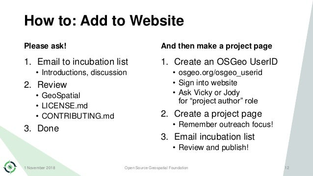 How to: Add to Website Please ask! 1. Email to incubation list • Introductions, discussion 2. Review • GeoSpatial • LICENS...