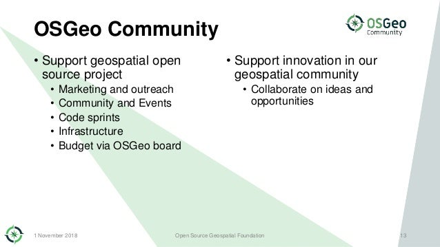 OSGeo Community • Support geospatial open source project • Marketing and outreach • Community and Events • Code sprints • ...