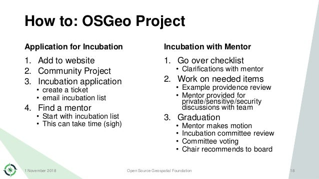 How to: OSGeo Project Application for Incubation 1. Add to website 2. Community Project 3. Incubation application • create...