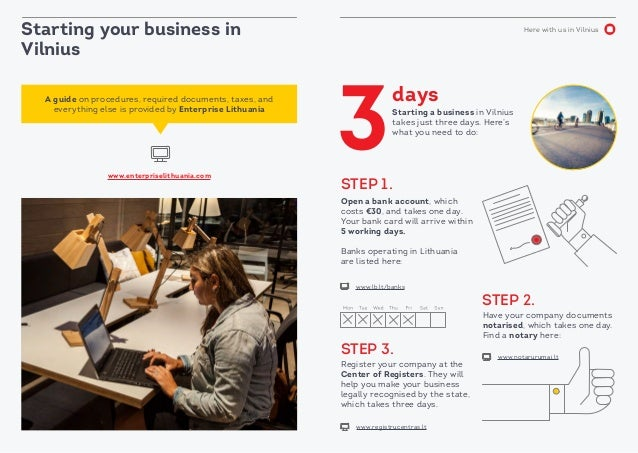 Here with us in Vilnius Starting your business in Vilnius Starting a business in Vilnius takes just three days. Here's wha...