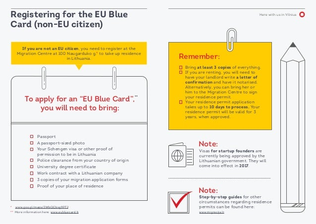 Here with us in Vilnius Registering for the EU Blue Card (non-EU citizen) Visas for startup founders are currently being a...
