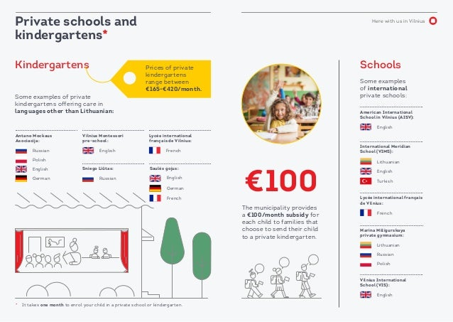 Here with us in Vilnius Prices of private kindergartens range between €165-€420/month. Private schools and kindergartens* ...