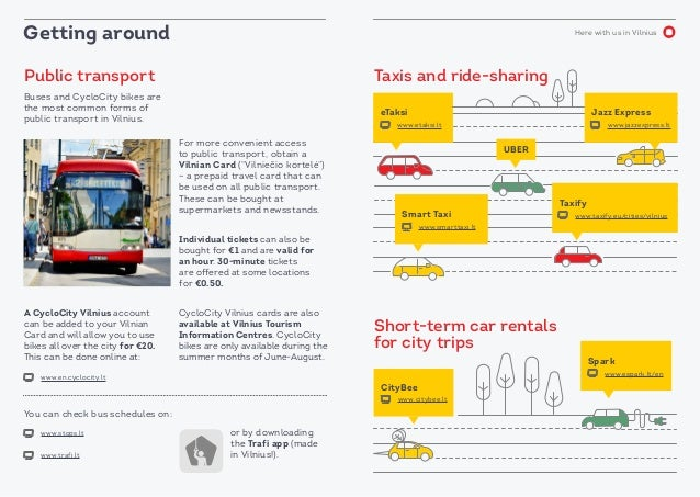 Here with us in Vilnius Public transport Taxis and ride-sharing Short-term car rentals for city trips Buses and CycloCity ...