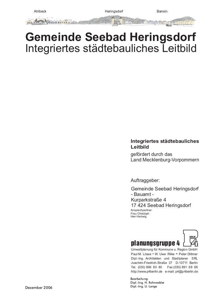 Gemeinde Seebad HeringsdorfIntegriertes Städtebauliches Leitbild                                       12/06Integriertes S...