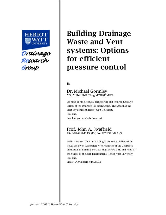Heriott watt report building drainage and vent systems for House drainage system ppt