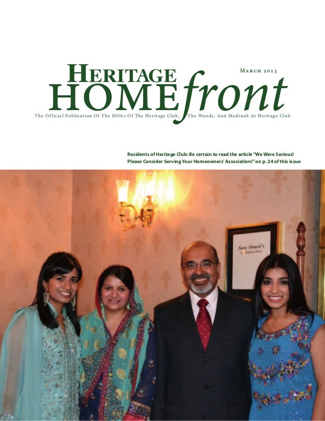 homefrontThe Official Publication Of The HOAs Of The Heritage Club, The Woods, And Medinah At Heritage ClubMarch 2013Resid...