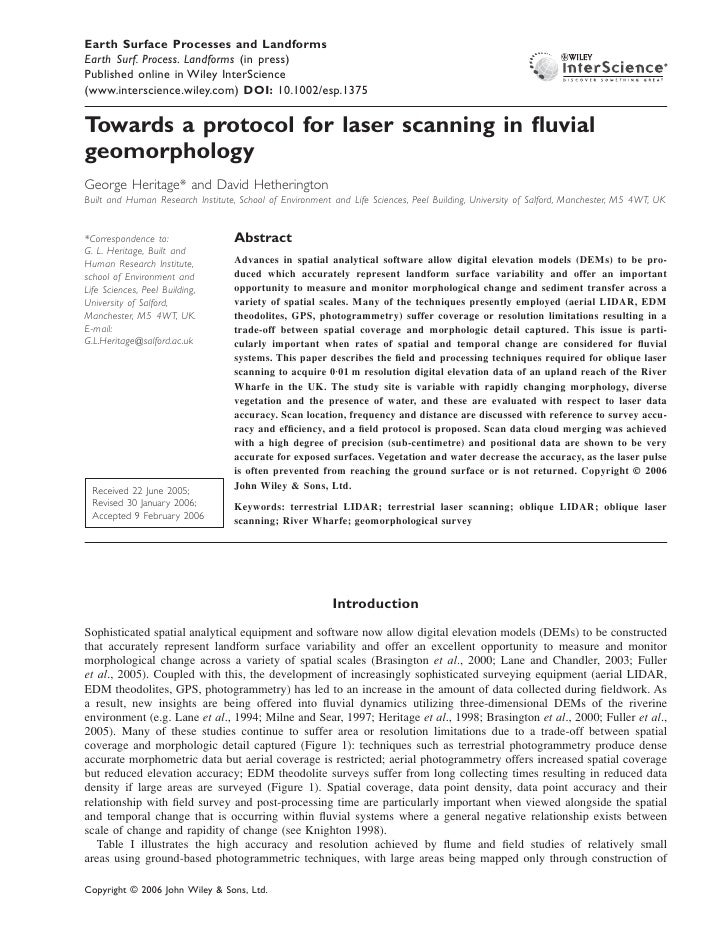 Earth Surface Processes and Landforms Laser Surf. Process. fluvial geomorphology Earth scanning in Landforms (in press)    ...