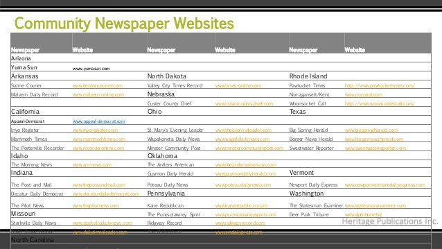 Community Newspaper Websites Newspaper Website Newspaper Website Newspaper Website Arizona Yuma Sun www.yumasun.com Arkans...