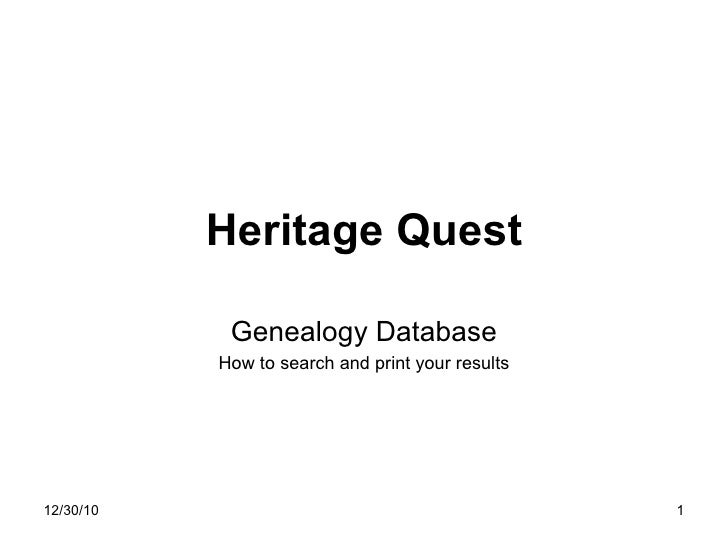 Heritage Quest Genealogy Database How to search and print your results