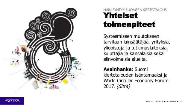 Sitra • 21.9.2016 • Kari Herlevi • 10 Yhteiset toimenpiteet Systeemiseen muutokseen tarvitaan lainsäätäjää, yrityksiä, yli...