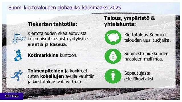 3Sitra • 21.9.2016 • Kari Herlevi • Suomi kiertotalouden globaaliksi kärkimaaksi 2025 Kiertotalous Suomen talouden uusi tu...