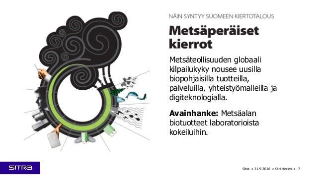 Sitra • 21.9.2016 • Kari Herlevi • 7 Metsäteollisuuden globaali kilpailukyky nousee uusilla biopohjaisilla tuotteilla, pal...