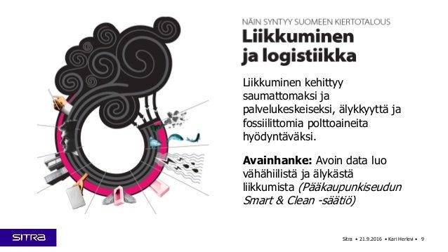 Sitra • 21.9.2016 • Kari Herlevi • 9 Liikkuminen kehittyy saumattomaksi ja palvelukeskeiseksi, älykkyyttä ja fossiilittomi...