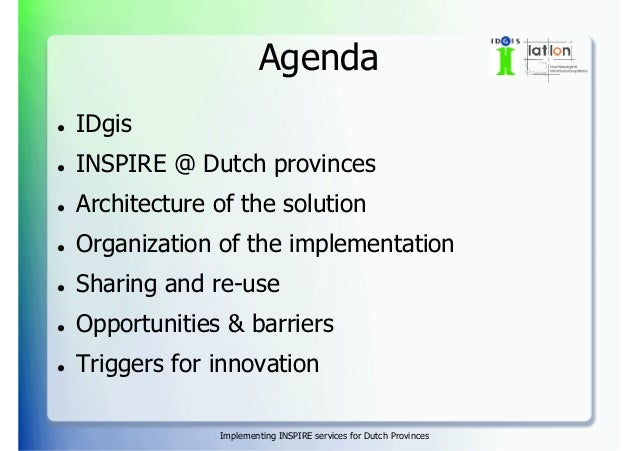 Implementing INSPIRE services for Dutch provinces Slide 2