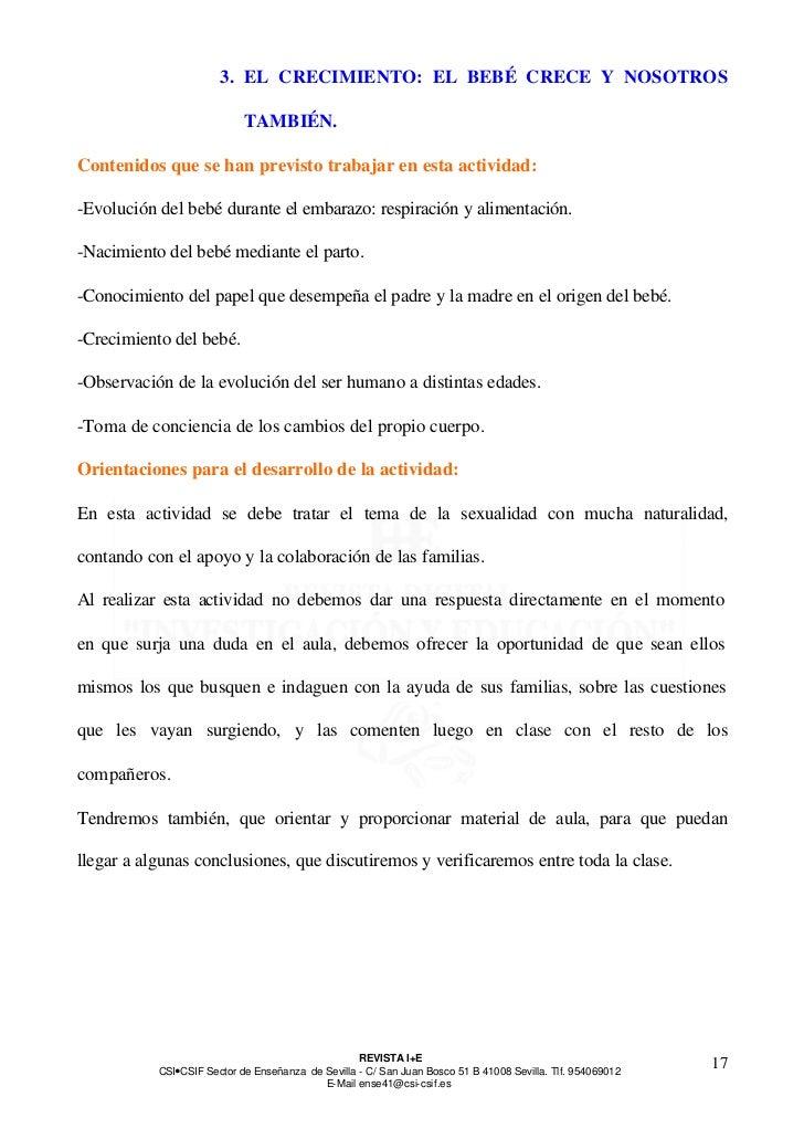 3. EL CRECIMIENTO: EL BEBÉ CRECE Y NOSOTROS                            TAMBIÉN.Contenidos que se han previsto trabajar en ...