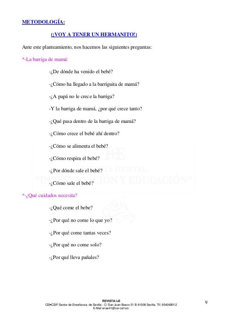 METODOLOGÍA:               (¡VOY A TENER UN HERMANITO!)Ante este planteamiento, nos hacemos las siguientes preguntas:*-La ...