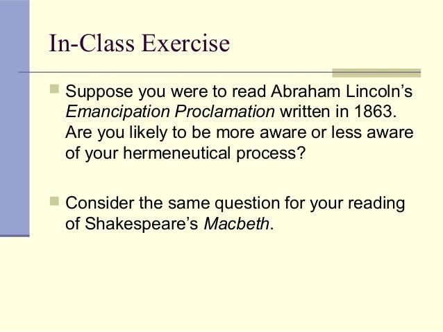 Hermeneutics and the exegetical worksheets 1 – Emancipation Proclamation Worksheet