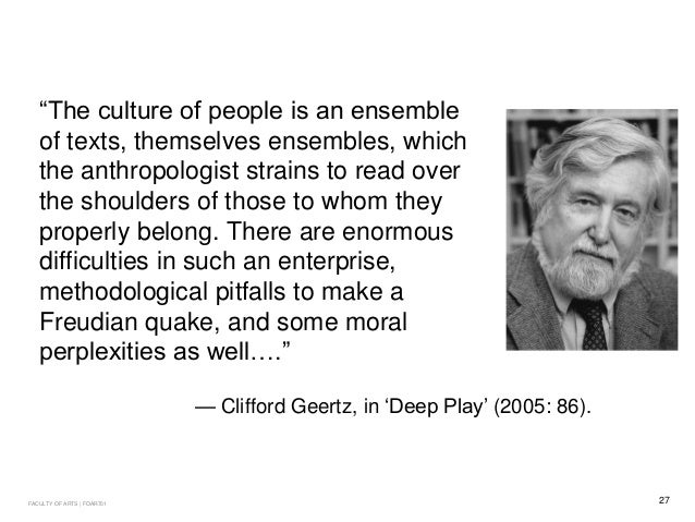 Clifford geertz deep play notes on