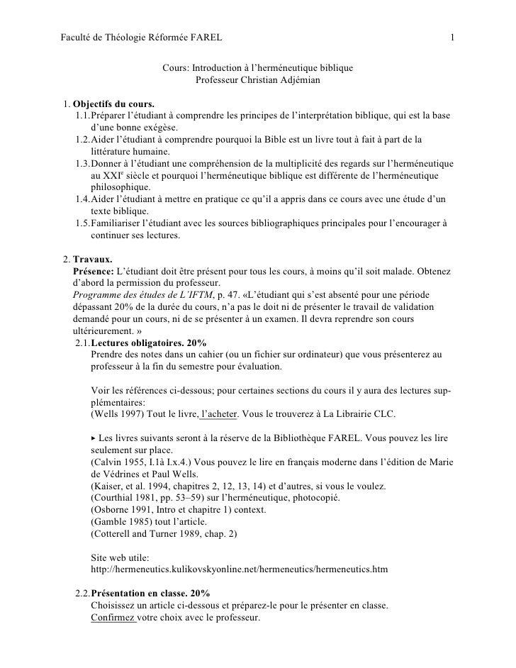 Faculté de Théologie Réformée FAREL                                                                1                      ...