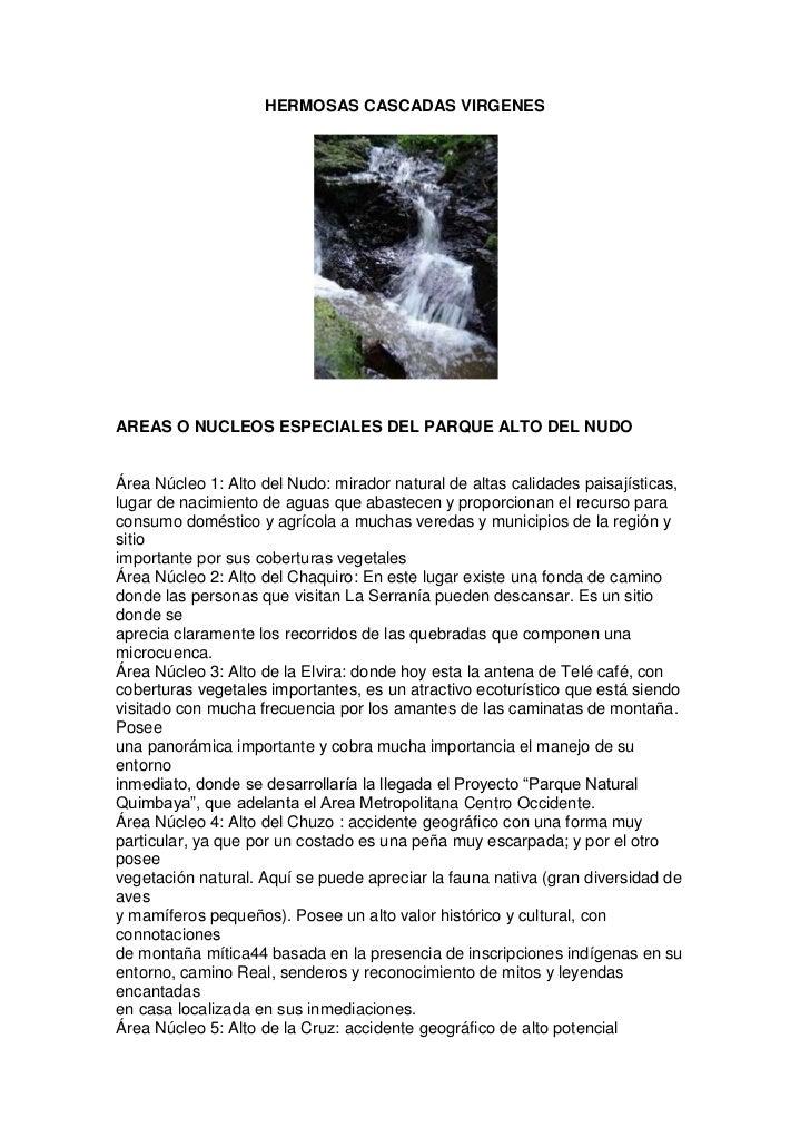 HERMOSAS CASCADAS VIRGENES<br />AREAS O NUCLEOS ESPECIALES DEL PARQUE ALTO DEL NUDO<br />Área Núcleo 1: Alto del Nudo: mir...