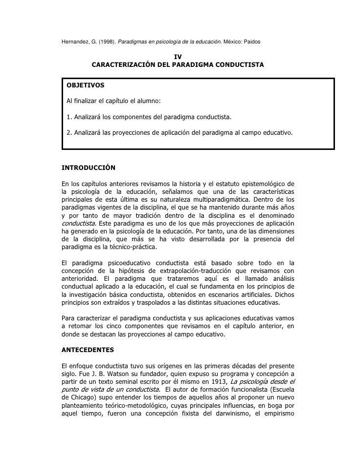 Hernandez, cap4, caracterización del paradigma conductista