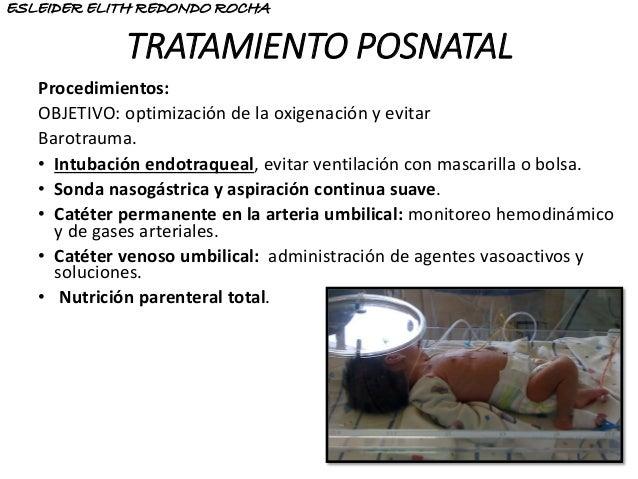 TRATAMIENTO POSNATAL Procedimientos: OBJETIVO: optimización de la oxigenación y evitar Barotrauma. • Intubación endotraque...