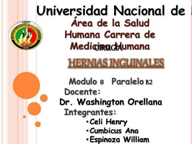 Área de la Salud Humana Carrera de Medicina Humana Universidad Nacional de L Modulo 8 Paralelo B2 Docente: Dr. Washington ...