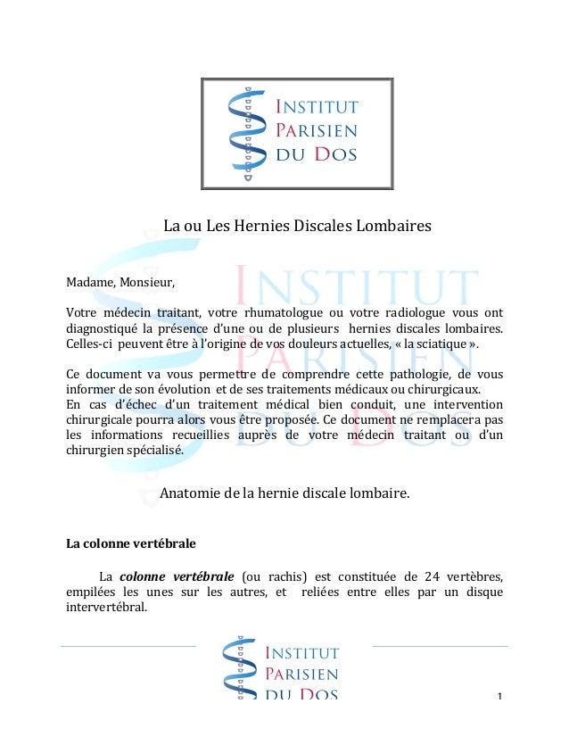 1                     La  ou  Les  Hernies  Discales  Lombaires         Madame,  Mo...