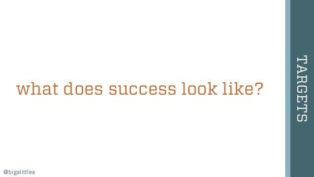 what does success look like? TARGETS @bigalittlea