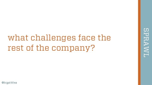 27 what challenges face the rest of the company? SPRAWL @bigalittlea