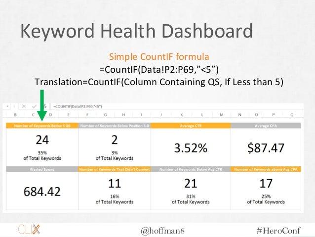 "@hoffman8 #HeroConf Keyword Health Dashboard Simple CountIF formula =CountIF(Data!P2:P69,""<5"") Translation=CountIF(Column ..."