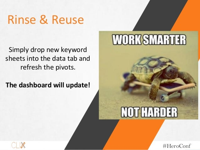 @hoffman8 #HeroConf Rinse & Reuse Simply drop new keyword sheets into the data tab and refresh the pivots. The dashboard w...