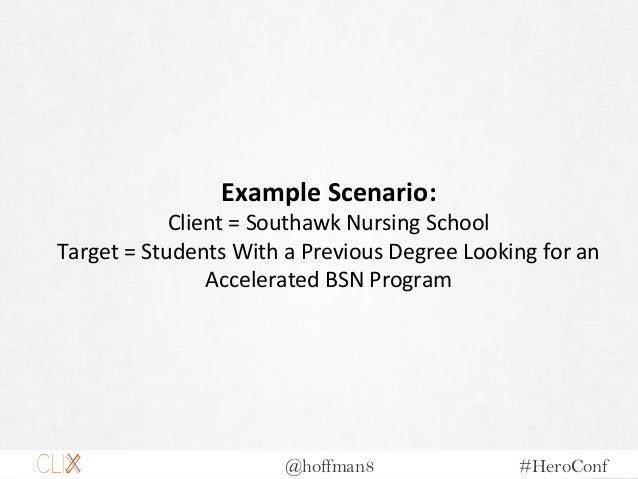 @hoffman8 #HeroConf Example Scenario: Client = Southawk Nursing School Target = Students With a Previous Degree Looking fo...