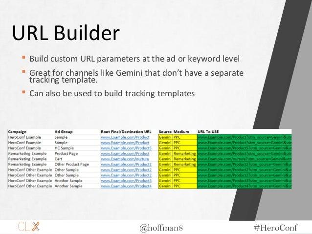 @hoffman8 #HeroConf URL Builder  Build custom URL parameters at the ad or keyword level  Great for channels like Gemini ...