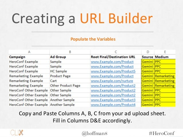 @hoffman8 #HeroConf Creating a URL Builder Populate the Variables Copy and Paste Columns A, B, C from your ad upload sheet...