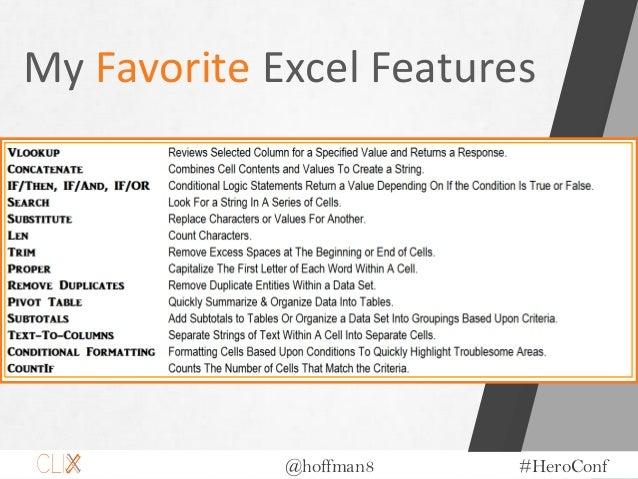 @hoffman8 #HeroConf My Favorite Excel Features