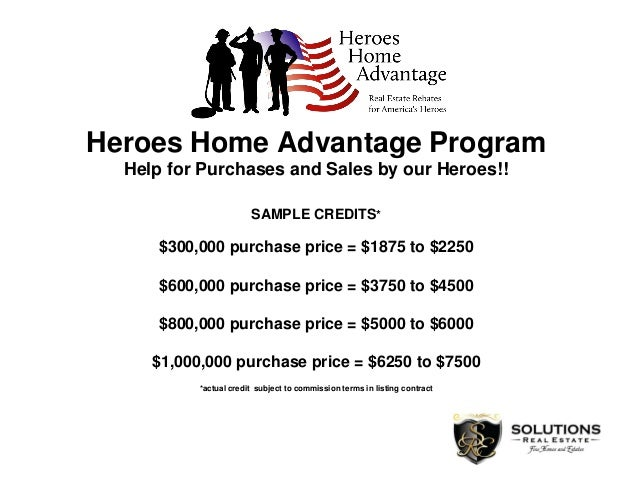 Heroes Home Advantage Program Help for Purchases and Sales by our Heroes!! SAMPLE CREDITS* $300,000 purchase price = $1875...