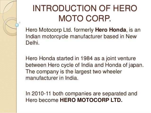 vission mission statement of herohonda Hmma vision and mission our team provides value for your future hmma mission statement to create exceptional automotive value for our customers by harmoniously blending safety, quality and efficiency.